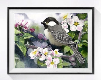 Bird Wall Decor Bird Art Print Watercolor painting Bird illustration Bird wildlife art Blackcap Chickadee Natural history Bathroom N