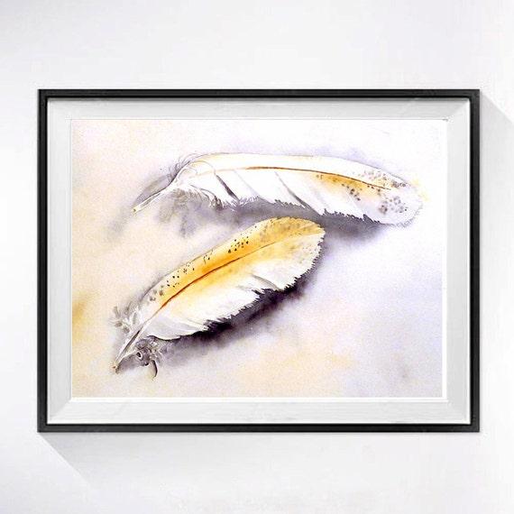 Feathers Art - Bird Art - PRINT of a Watercolor Painting - woodland painting, woodland wedding,  boho wedding, bohemian, Rustic 8x10