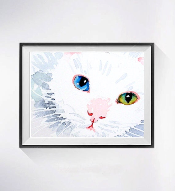 15. Cat Artwork White Cat Art PRINT, Myanmar painting, Water colour painting of kitty, White cat paintings cat illustration, Pet Art