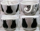 Black  Cats On Yarn Bowl Handmade Original Earthenware Clay by Grace M Smith