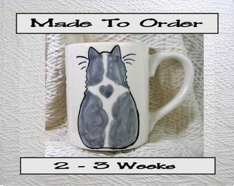 Grey & White Cat Mug Original Handmade To Order With Paws On Back by GMS