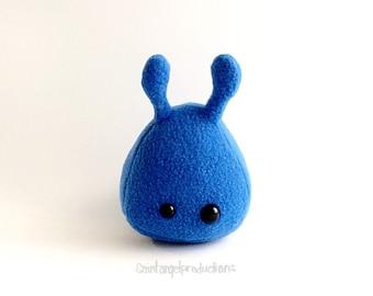 Royal Blue Stuffed Alien Plush, Small Handmade Plushie, READY TO SHIP