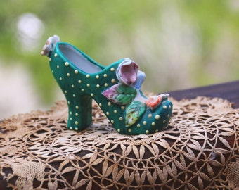Vintage Victorian Ceramic Shoe Collectible Shoe Figurine Green And White With Flowers