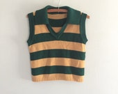 Vintage 1970s striped sweater vest / green and tan knit vest pullover vest sleeveless sweater