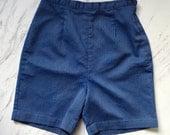 Vintage 1950s blue shorts / high wasit shorts / 24 waist xsmall shorts