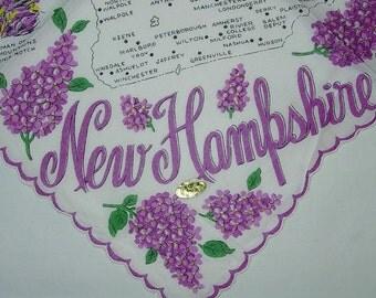 Vintage New Hampshire State Hanky - Handkerchief Hankie