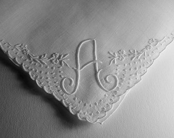 Vintage White Hanky with an Initial A - Hankie Handkerchief With Hand Embroidery