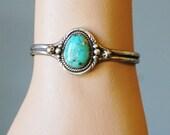1960s Native American Silver Bracelet Turquoise Vintage 1970s Large Bezel Set Stone