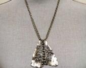 Vintage Brutalist Necklace Pendant Biomorphic 1960s 70s Modernist Runway Statement On Trend
