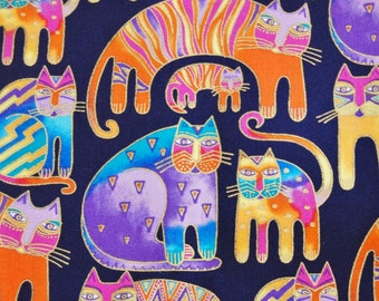 """Laurel Burch Cat Fabric Feline & Canines 2005 Standing Cats on Dark Navy Cotton Fabric 74"""" by 44""""  2 Yards Unused Clothworks"""