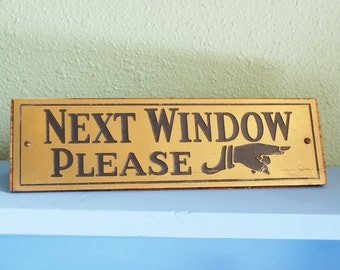 Vintage 1920s Next Window Please Sign Pointing Hand Store Bank Teller Wood and Brass