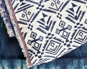 Geometric fabric / woven cloth / Aztec, Tribal, Mexican pattern /  Picnic blanket / Tribal geometric fabric / Double weave fabric