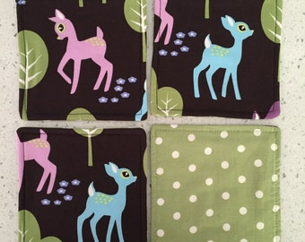 Drink Coasters - Set of 4 - Bambi Deer on Brown
