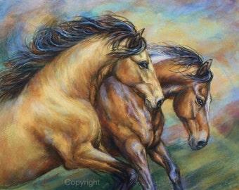 """Sold-Original Horse Painting-Original Horse Art-""""Duet"""""""