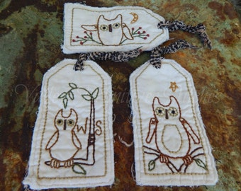 Hand Stitched Owl Hangtags, Fall