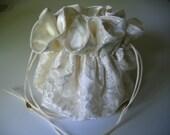 Wedding Dollar Dance Bag Ivory Satin Lace Brides Money Bag