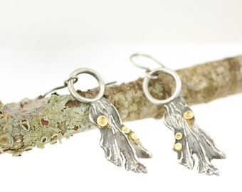 River Lichen Earrings Sterling Silver 18k Gold Recycled Metal Nature Jewelry Woodland Botany