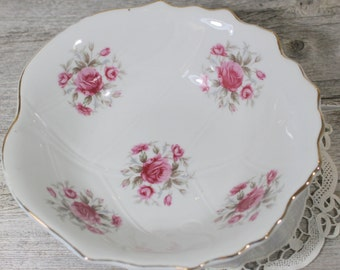 Shabby Chic Vintage Rose Serving Bowl with Silver Rim, Pink Rose Bowl