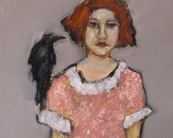 Abstract Art Figure Figurative Portrait Giclee Print Colette Davis - BIRD WATCHING # 1, Crow, Bird