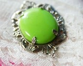 Oval Silver Pendent with Lime Green Oval Setting 1970s No. P0001