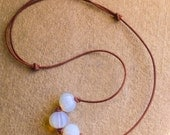 """Opalite and Leather Necklace Adjustable Necklace from 14 to 24"""""""