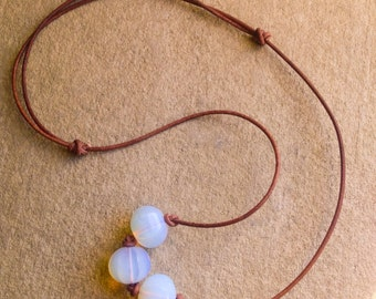 Opalite and Leather Necklace Adjustable Necklace from 14 to 24""