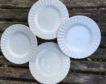 4 Vintage  J & G Meakin Class White Farmhouse White Small Plates Dessert Plate or Wall Hanging Swirl Design