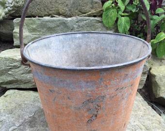 Antique galvanized bucket etsy for Galvanized well bucket