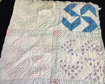 Vintage Hand Quilted Pinwheel with Polka Dot Fabric Cutter Quilt Piece