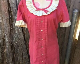 Vintage 1970's Era Ladies' Mod Pink Dress with Cream Ruffled Collar