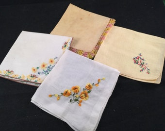 Lot of 4 Vintage Yellow and White Ladies' Hankies with Embroidery and Tatting