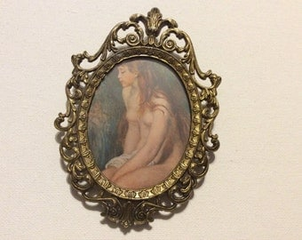 Vintage Made in Italy Ornate Oval Picture Frame