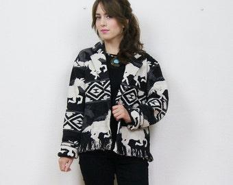 vintage Navajo jacket, horse print, fringe jacket, Native American jacket, cropped jacket, Navajo print, Festival jacket, boho jacket