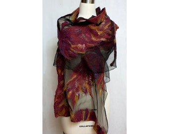 Nuno Felted Art to Wear Shawl Firebird Red and Black