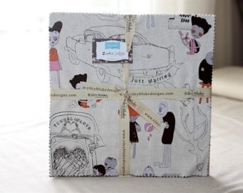 SALE 10 inch squares Stackers ZOMBIE LOVE fabric by Riley Blake by Emily Taylor Design