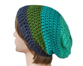 Turquoise, Aqua, Olive Green and Navy Blue Striped Slouch Beanie Slouchy Beanie Mens Womens