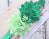 Green St Pattys Day Headband Green Shabby Flowers on Green Headband and Shamrock