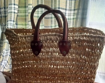 Heavy Woven Raffia Leather Trimmed Market Bag