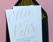 Romantic Wedding Invitations - Elegant wedding invitations, Modern Wedding, Blush Wedding, Pink Wedding Invitations