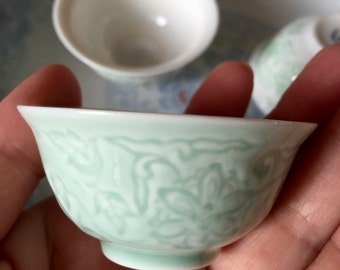 Mini cerami teacup floral green gloss finish