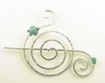 Silver Spiral Hair Slide/Barrette/Clip/ with Turquoise and Turtle