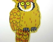 Vintage Brown Owl Autumn or Halloween Decoration or Die Cut by Trend