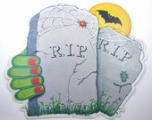 Vintage Die Cut Halloween Decoration of RIP Tombstones or Gravestones Monster Hand Spiders and Bat