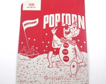 Vintage Red and Ivory Popcorn Box with Clown and Circus Tents NOS