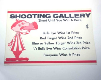 Vintage 1960s Large Amusement Park or Carnival Poster for Shooting Gallery Midway Game