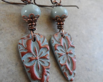 Brocade ... Lightweight Polymer Clay and Copper Wire-Wrapped Autumn, Boho, Earthy, Victorian Earrings