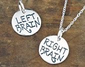 Right Brain Left Brain Necklace - Reversible Charm - Jewelry for Artists, Sterling Silver #SDC-45