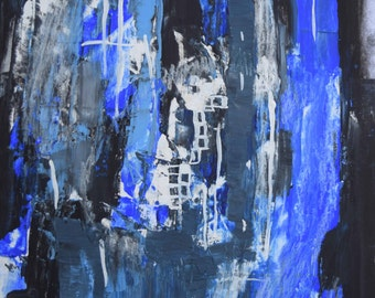 Watching the River, 11 by 14, abstract, casein, blues, black, white, bits of collage