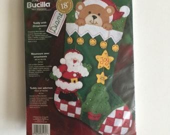 Bucilla Felt Christmas Stocking Kit - Teddy With Ornaments - Unopened