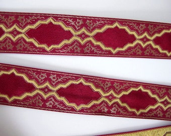 "3 yards  BAROCCO, medium,  rich Jacquard trim in antique gold, mustard on red. 1 1/4"" wide. 2022-C"